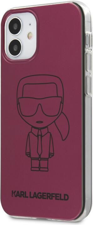 "KARL LAGERFELD ochranný kryt Metallic Iconic Outline pro iPhone 12 Mini (5.4""), TPU, růžová"