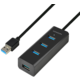 AXAGON 4x USB3.0 CHARGING hub 1.2m cable, nap.
