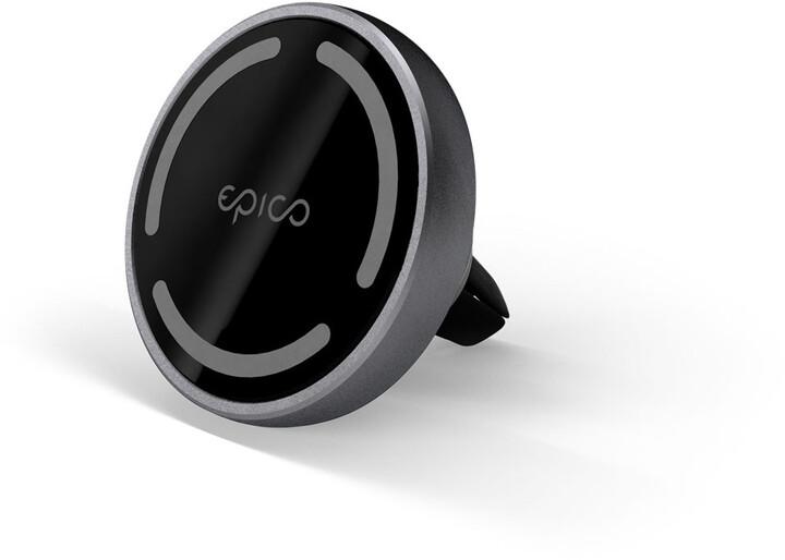 EPICO bezdrátová nabíječka do auta s Magsafe, 15W, 18W USB-A, tmavě šedá
