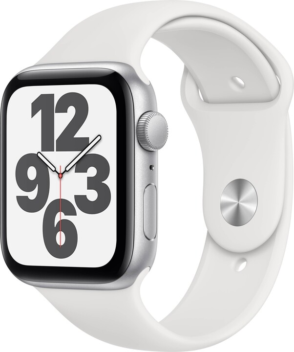 Apple Watch SE, 44mm, Silver Aluminium, White Sport Band