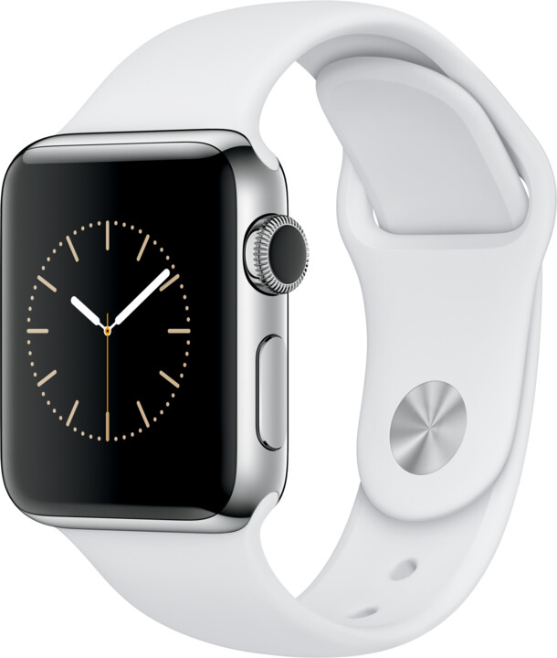 Apple Watch 2 38mm Stainless Steel Case with White Sport Band