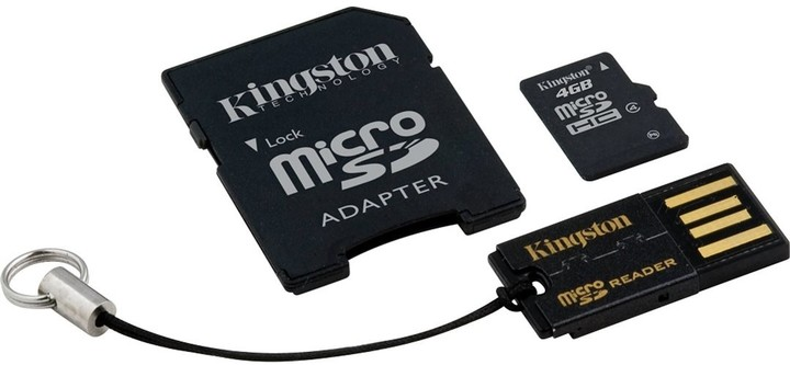 Kingston Micro SDHC 4GB Class 4 + SD adaptér + USB čtečka