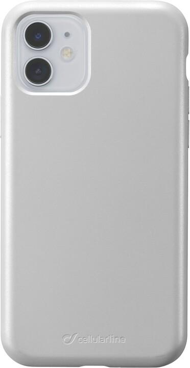 Cellularline ochranný silikonový kryt Sensation Metallic pro Apple iPhone 11, stříbrná