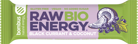 Bombus BIO Raw energy, tyčinka, černý rybíz a kokos, 50g