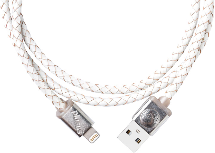 PlusUs LifeStar Premium Handcrafted USB Charge & Sync cable (1m) Lightning - White /Grey