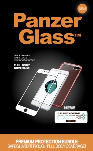 PanzerGlass Premium with EdgeGrip - Ochranná sada obrazovky - bílá, ružová - pro Apple iPhone 7