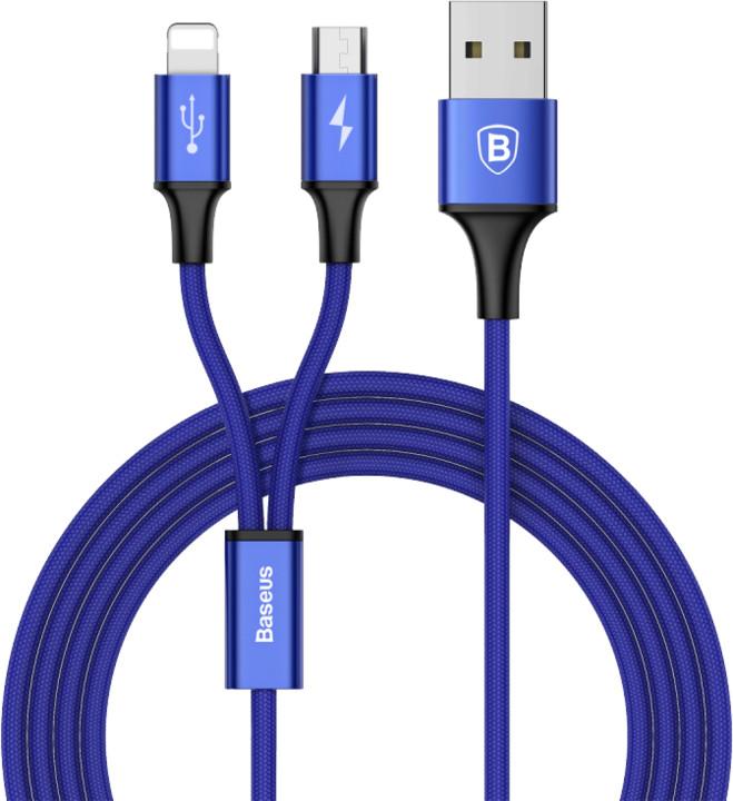 Baseus kabel Rapid Series 2-in-1 Micro + Lightning 3A 1.2M, tmavě modrá