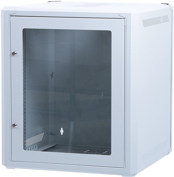 """Masterlan 19"""" nástěnný, 12U, 600x400mm, rozložený FLAT PACK, skleněné dveře, zatížení 60kg, šedá"""