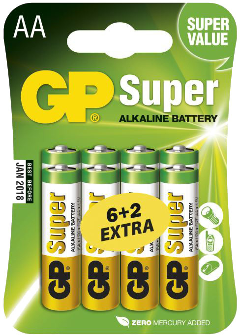 GP Super Value, alkalická, AA, 8ks (6+2)