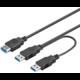 PremiumCord USB 3.0 napájecí Y kabel A/Male + A/Male -- A/Female