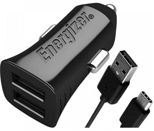 Energizer nabíječka do auta, 2xUSB, 3.4A, USB-C kabel, černá