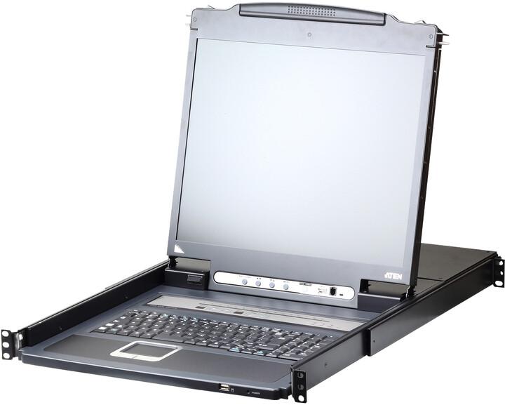 """ATEN CL5716I - 16-portový KVM switch (PS/2 i USB) přes IP, VGA, 17"""" LCD, UK klávesnice"""