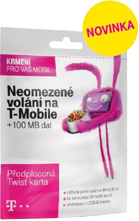 T-mobile SIM karta TWIST V síti, kredit 200 Kč