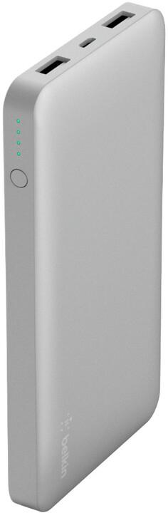 Belkin powerbanka 10000mAh, 2xUSB s microUSB kabelem, stříbrná