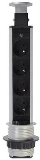 Solight výsuvný blok zásuvek, 4 zásuvky, prodlužovací přívod 1,5m, stříbrná