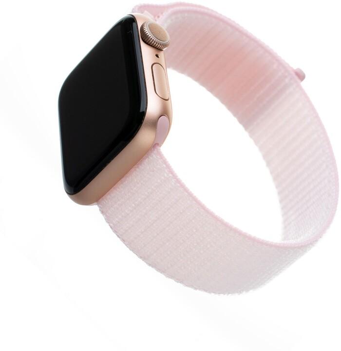 FIXED nylonový řemínek pro Apple Watch, 42/44mm, růžová