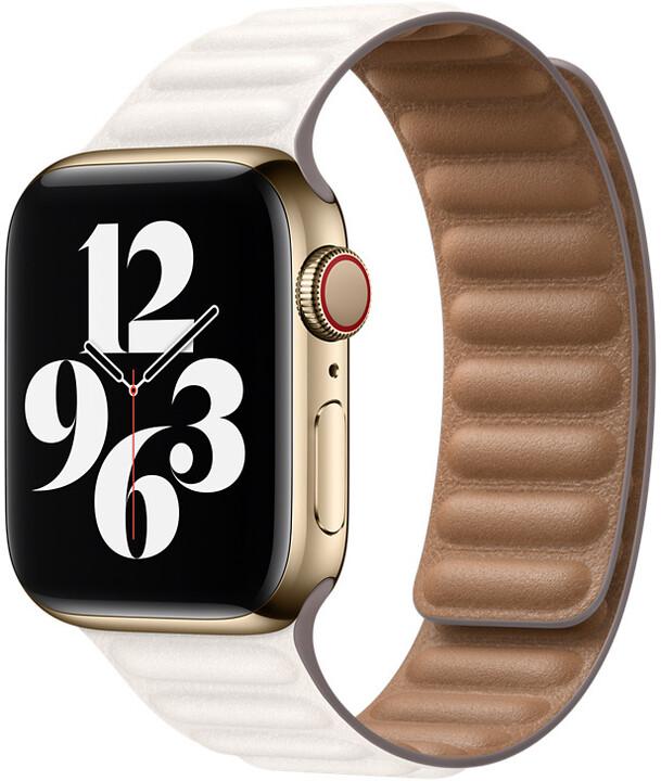 Apple řemínek pro Watch Series, kožený, 40mm, bílá, S