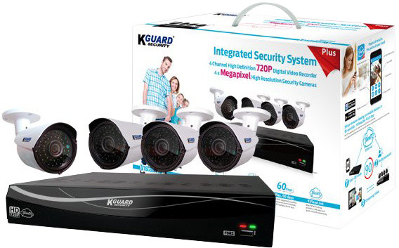 KGUARD set EL431 4-kanálový rekordér DVR 720P FULL HD + 4x 720P barevná venkovní kamera WA713A