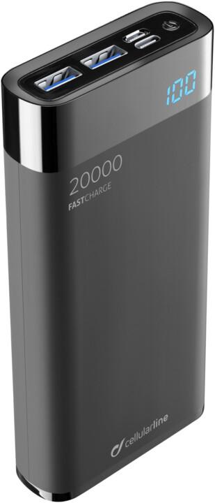 CellularLine FREEPOWER MANTA HD powerbanka 20000mAh, USB-C + 2x USB port, černá