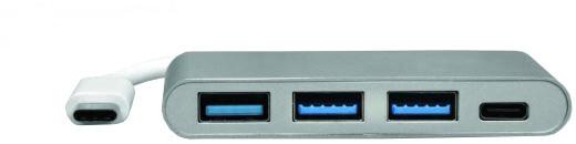 Port Connect USB-C HUB, 3x USB 3.0 + 1x USB-C 3.0, šedá