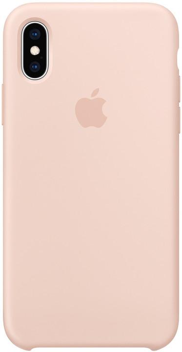 Apple silikonový kryt na iPhone XS, pískově růžová