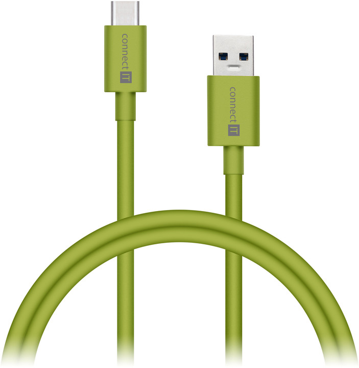 CONNECT IT Wirez COLORZ Kabel USB-C (Type C) - USB-A, 1 m, zelený
