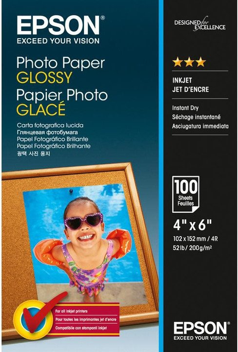 Epson Foto papír Paper Glossy, 10x15 cm, 100 listů, 200g/m2, lesklý