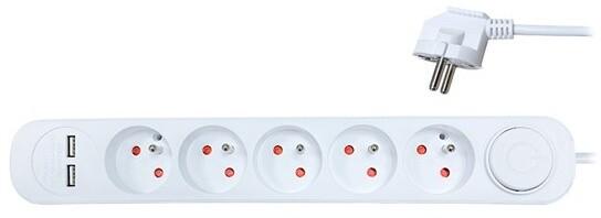 Solight prodlužovací přívod, 5 zásuvek, USB 2.4A, bílý, 3 x 1mm2, vypínač, 3m