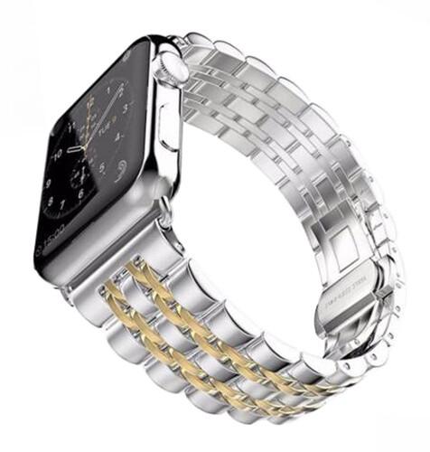 ESES kovový řemínek 42/44mm pro apple watch, stříbrná/zlatá