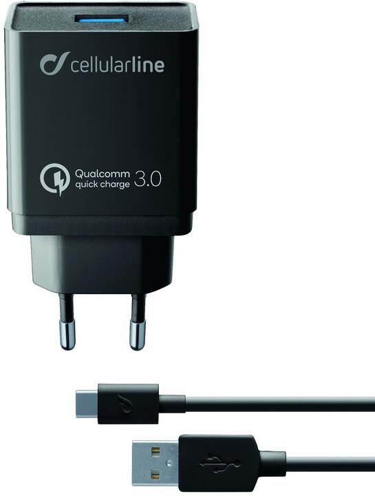 CellularLine nabíjecí set USB adaptéru a USB-C kabelu Qualcomm® Quick Charge™ 3.0, 18W, černá