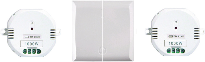 DI-O dálkově ovládaný spínač světel, zásuvek, dva ovládací prvky a dvojvypínač, bílá
