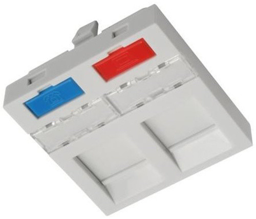 Solarix modul French style 45 x 45mm pro 2 keystony přímý bílý SXF-M-2-45-WH-P