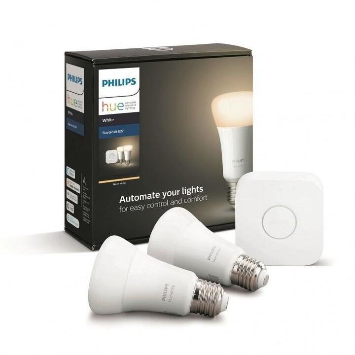Philips žárovka Hue E27, LED, 9W, 2ks + bridge - 2. generace s BT