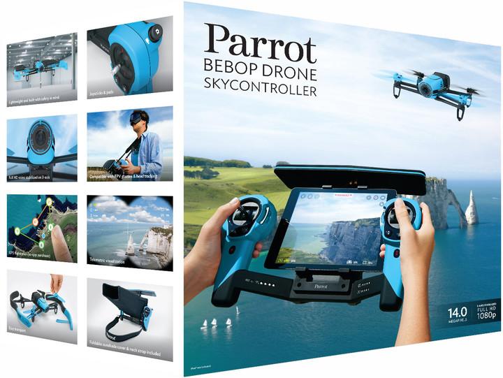 Parrot Bebop Drone & Skycontroller, modrá
