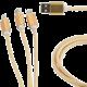 Gembird CABLEXPERT kabel USB A Male/Micro B + Type-C + Lightning, 1m, opletený, zlatá