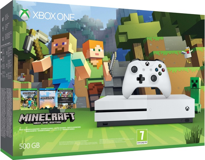 XBOX ONE S, 500GB, bílá + Minecraft