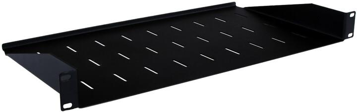 """Masterlan - pevná police s perforací, 1U, 19"""", hloubka 250mm, nosnost 25kg, černá"""