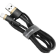 Baseus odolný nylonový kabel USB Lightning 1.5A 2M, zlatá + černá