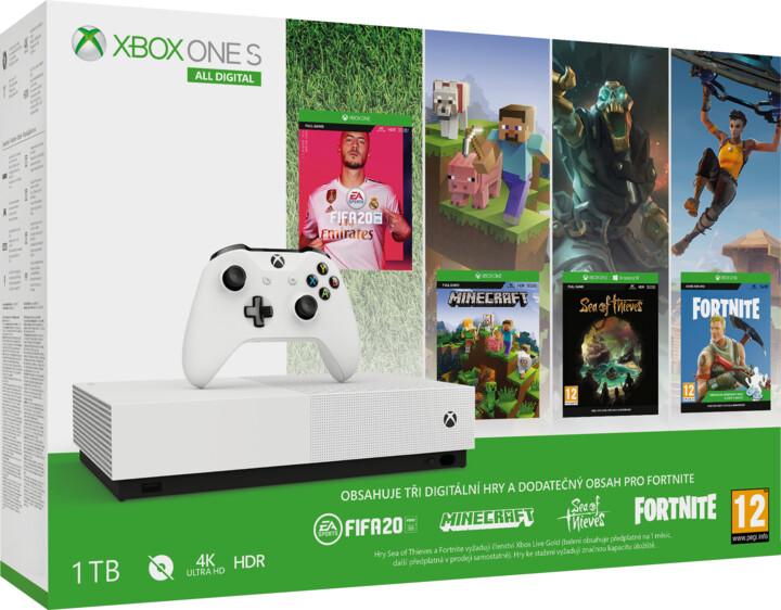 XBOX ONE S All-Digital, 1TB, bílá + FIFA 20, Minecraft, Fortnite, Sea of Thieves