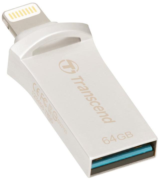 Transcend JetDrive Go 500 - 64GB, stříbrná