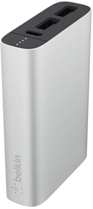 Belkin MIXIT Metallic Power Pack 6600 Powerbank, 2xUSB + Micro-USB kabel - stříbrný