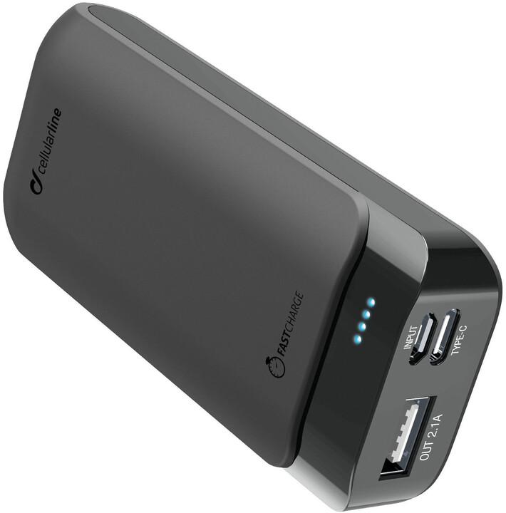 CellularLine Prémiová powerbanka PowerUp s Usb-C, 5200mAh, černá