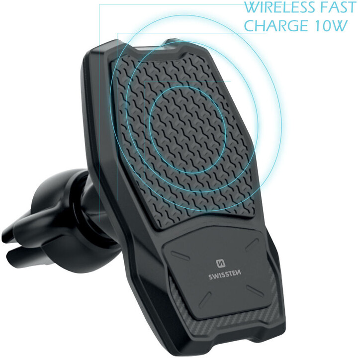 SWISSTEN magnetický držák do ventilace auta s bezdrátovým nabíjením WM1-AV3, černá