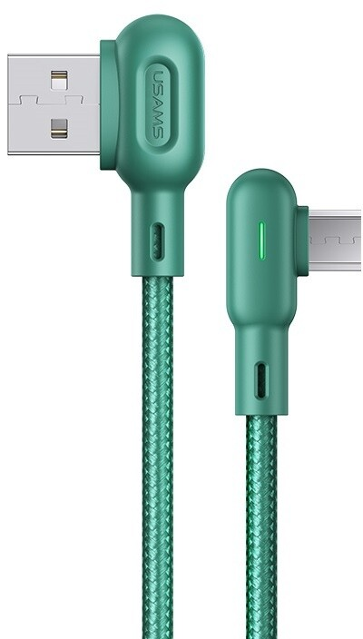 USAMS SJ458 U57 kabel Micro USB braided pravý úhel s osvětlením 1,2m, zelená