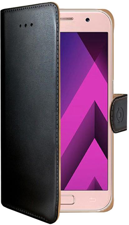 CELLY Wally pouzdro typu kniha pro Samsung Galaxy A3 (2017), PU kůže, černé