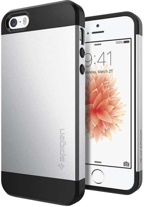 Spigen Slim Armorsatin kryt pro iPhone SE/5s/5, stříbrná