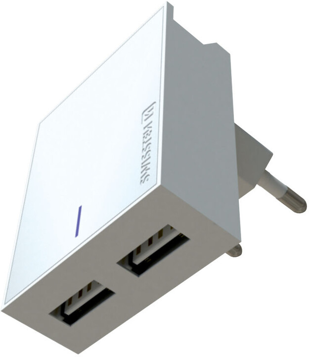 SWISSTEN síťový adaptér SMART IC, CE 2x USB 3 A Power, bílá