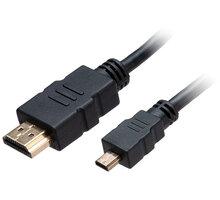 Akasa kabel HDMI/micro HDMI 4K@60Hz, pozlacené konektory, 1.5m, černá - AK-CBHD20-15BK