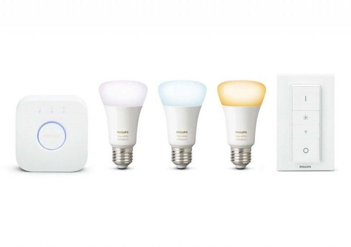 Philips žárovka Hue E27, LED, 9.5W, 3ks + bridge + switch - 2. generace s BT