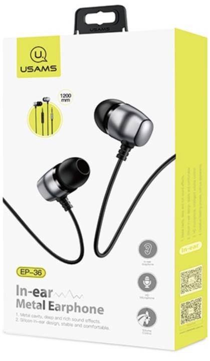 USAMS EP-36 Steel Stereo Headset, černá
